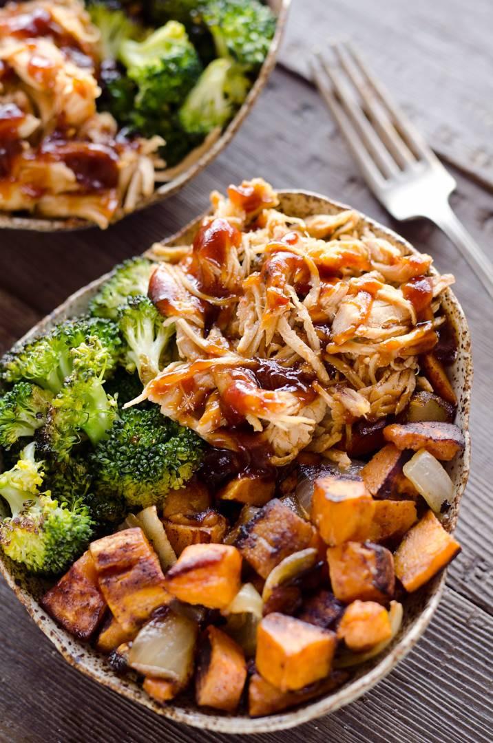 Pineapple Habanero BBQ Chicken & Roasted Sweet Potato Bowls